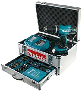 Makita Akku-Schlagbohrschrauber BHP453RHEX5 im Alukoffer inkl. 96-tlg. Zubehörset, 2 Akkus und Ladegerät