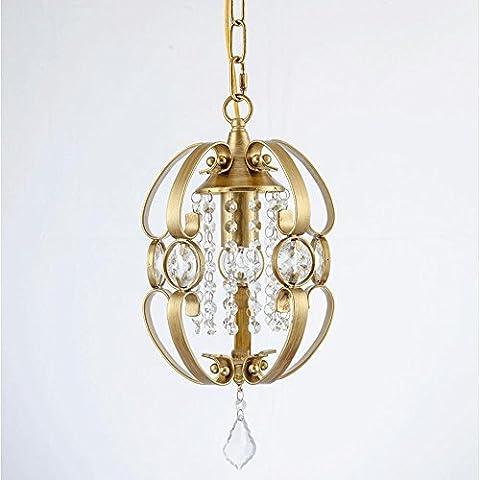 Rétro Cristal Lustre Créatif Le fer Lumière suspendue pour Salon Chambre Restaurant d'or Cru Art Petit Éclairage suspendu, E27, D38 * H65CM