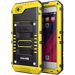 Beeasy Coque iPhone 6/6S Antichoc,Étanche Protecteur d'Écran intégré Qualité Militaire Robuste Résistant Metal IP68 Antipoussière Anti Pluie Neige Étui pour Le Travail Housse à l'Air Libre, Jaune