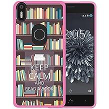 Funda Bq Aquaris X5 Plus, WoowCase [ Bq Aquaris X5 Plus ] Funda Silicona Gel Flexible Keep Calm and Read a Book, Carcasa Case TPU Silicona - Rosa