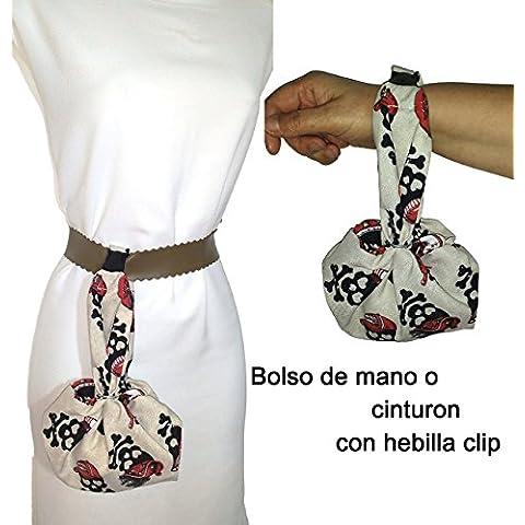 Bolso de mano o cinturón, CALAVERAS artesanal, para el móvil, las llaves, la cartera, pañuelos, etc. ideal para ir de paseo, a bailar etc. Con hebilla clip para colgarse donde prefieras. Cabe muchísimo, se hace francamente grande.
