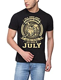 pepperClub Men's Cotton Round Neck Tshirt - All Men are Equal But Best are Born in July