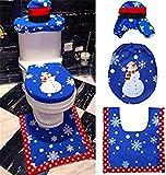 Hunterace 3 Pezzi/Set Natale Decorazione Natalizia Toilette Coprisedili Coprisedili Coprivaso e fazzolettini Set da Bagno Babbo Natale/Pupazzo di Neve/Renna/Elfo # 5