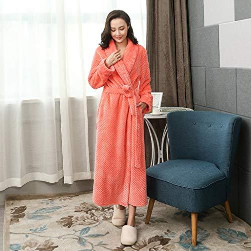 Damen Bademantel Coral Fleece, Plus-Samtverdickung Super Soft Komfortable Spa Robe Lounge Haus Leichte Robe for Frauen-M, L, XL (Color : Orange, Size : M)