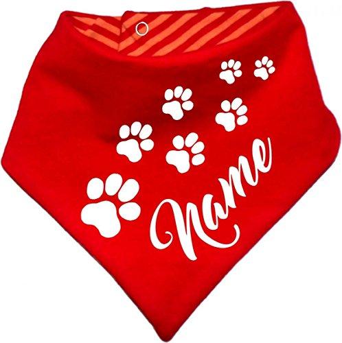 KLEINER FRATZ Gestreiftes Hunde Wende- Halstuch (Fb: Rot-Orange) (Gr.1 - HU 27-30 cm) mit Ihrem Wunschtext