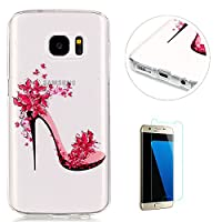Crystal Clear Samsung Galaxy S7 Silicone Gel Case [with Free Screen Protector],KaseHom Pink Butterfly Girls High Heel Pattern Design Ultra Slim Soft Durable Rubber Skin Scratch Resistant Transparent Bumper Shell TPU Protective Case Cover for Samsung Galax