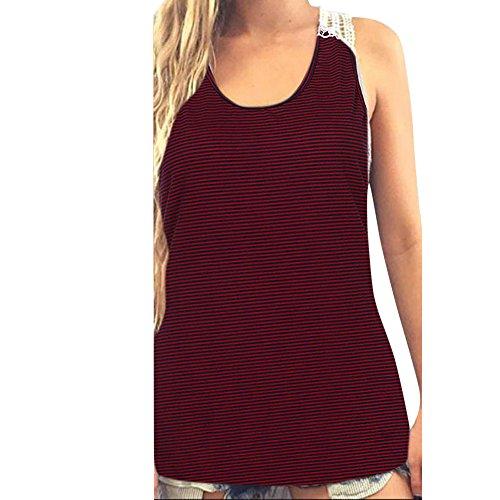 PorLous Bluse, 2019 Mode Frauen Weiblich Sommer Spitze Weste Top Kurzarm Bluse Lässige Tank Tops T-Shirt Bequem (Kanada Kontaktlinsen)