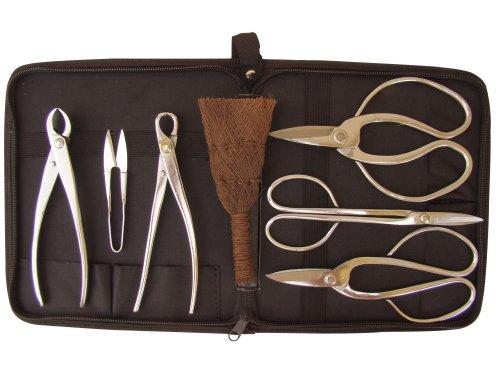 Bonsaiwerkzeugset I, platiniert, 7 teilig + praktischer Werkzeugtasche