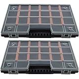 Sortimentskasten [ 2er Set ] Sortierbox Sortimentskoffer Organisationbox mit Deckel - Kleinteilemagazin mit individuell einteilbare Fächer- bis zu 20 Fächer - für Schrauben , Schmuck , Angler , Perlen - 285 x 190 x 35 mm
