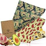 MyBeeWrap Pack Original- Emballage Alimentaire Réutilisable de Cire d'abeille - Lot de 4 : 1 petit, 2 moyens et 1 grand | Produit naturel et sans plastique - Zéro déchet