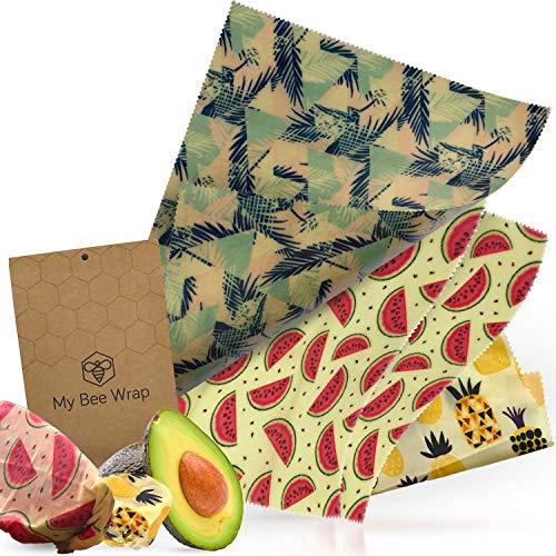 MyBeeWrap - Emballage Alimentaire Réutilisable de Cire d'abeille - Lot de 4 : 1 petit, 2 moyens et 1 grand | Produit naturel et sans plastique - Zéro déchet