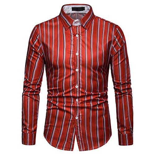 DNOQN Coole Shirts Herren Langarmshirt Herren Langarm Gitter Streifen Malerei Beiläufig Große Größe Top Bluse Shirts XXXL