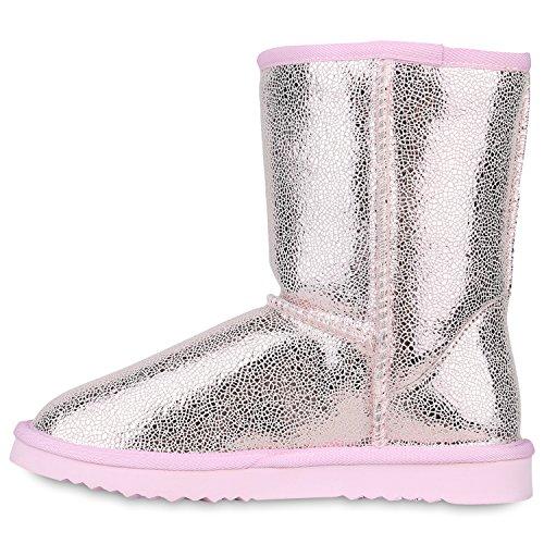 Stiefelparadies Damen Stiefeletten Schlupfstiefel Warm Gefütterte Stiefel Schuhe Flandell Rosa Carlet