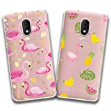 jrester 2 X Coque Wiko Lenny 5,Flamant Rose + Flamant aux Fruits Souple Transparent...