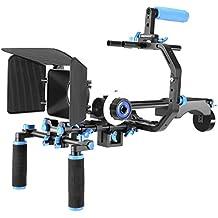 Neewer Kit de Système de Tournage Vidéo pour DSLR Caméra Vidéo avec Monture en Forme C, Poignée, Tige 15mm, Coupe-flux, Follow-focus, Rig d'Epaule (Bleu+Noir)