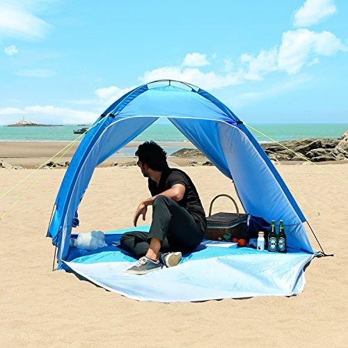 WolfWise Pop-up Abris de Plage Anti-UV Tente de Plage Tente Instantanée, Bleu