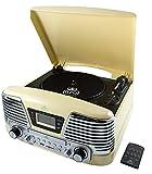 GPO Memphis Retro Record Player/Turntable, CD, FM Radio & MP3 Player - Cream