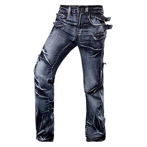 Jeansian Herren Entwickelt Gerade Geschnittene Blue Jeans J003 W34 (Cuff Capri Hose Jeans)