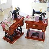 Retro Retro Air Simulation Sewing Machine Music Box,Mamum Vintage Music Box Mini Sewing Machine Style Mechanical Birthday Gift Table Decor (12 * 7.7 * 16cm)