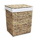 WM Homebase Wäschekorb aus Wasserhyazinthe, handgeflochten Wäschesammler Wäschesack mit Griffen in Naturfarben 43x34x52cm