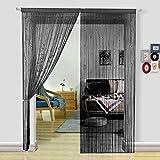 hsylym countryclub–Cortina de cuentas Pearl de cuentas para puerta divisor de cortina decoración del hogar, poliéster, negro, 90x200cm
