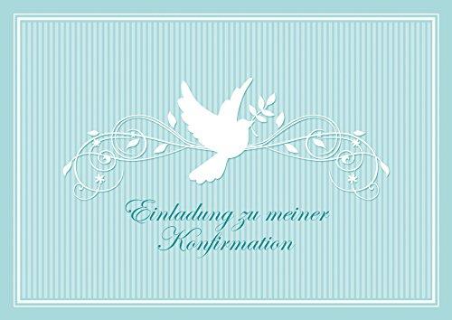 Konfirmationskarte Einladung zu meiner Konfirmation schöne Einladungskarte zur Konfirmation Klappgrußkarte für EIN Mädchen/Junge in Türkis mit Einem Ornament und Taube (Mit Umschlag) (8)