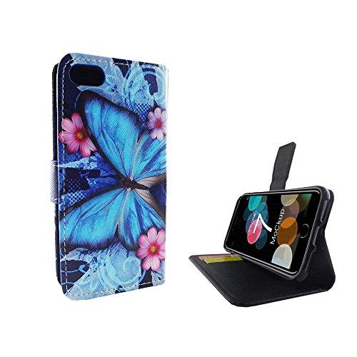 König-Shop - Handyhülle Schutz Tasche Case Cover Wallet Kunstleder 360 Grad Standfunktion, Farbe:Marshmallows, Größe:Apple iPhone 7 Blauer Schmetterling