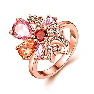 Yellow Chimes Multicolor Flower Swiss Zircon Rose Gold Crystal Ring For Women