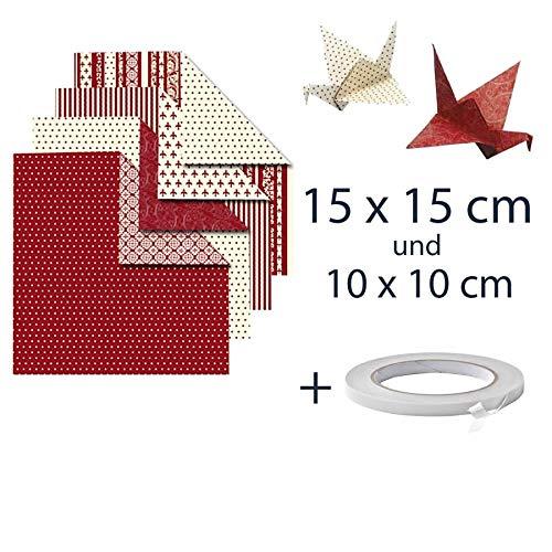 Origami Papier Doppelpack. Sortiment. Verschiedene größen, 15x15 cm und 10x10 cm Mit Doppelseitiges Klebeband, je. 50 Blatt mit 4 Designs, Origami Papier Weihnachten
