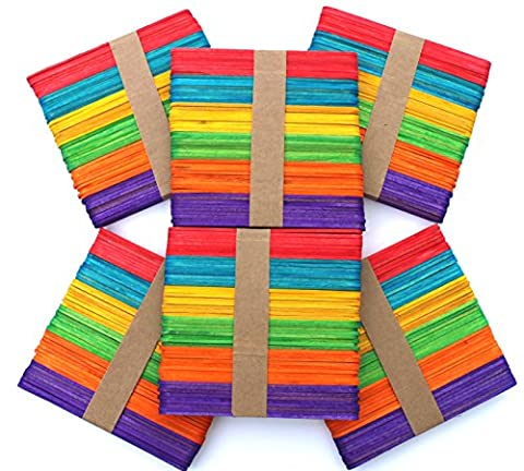 300 bâtons en bois pour l'artisanat 114mm x 10mm x 2mm - Coloré