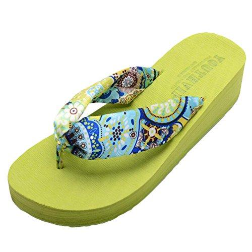 Yiiquan Damen Sommer Plateau Flip Flops Schuhe Sandalen innen & Outdoor Zehentrenner Grün #2