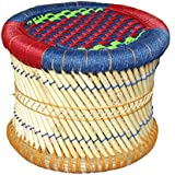 Oren Empower Multipurpose Cane Bar Traditional CUM Modern Seating Stool (Blue-Red-Green, L-40cm, B-40cm, H-31cm)