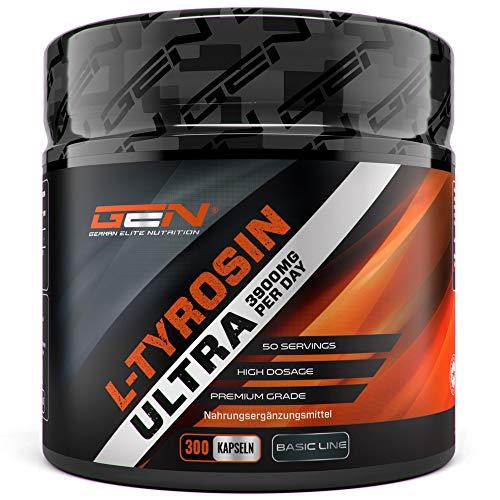 L-Tyrosin Ultra - 300 Kapseln - 3900 mg pro Tagesportion - 50 Portionen - Hochdosiert - Premium Aminosäure - Beliebt bei Sportlern & Bodybuildern - German Elite Nutrition - Bcaa 500 Mg 120 Kapseln