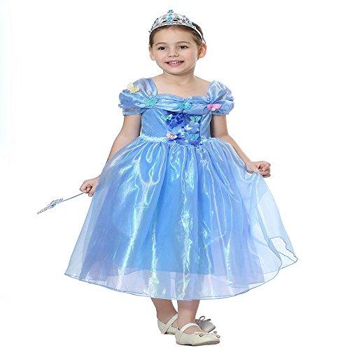 (Pretty Princess Mädchen Kostümfest Outfit Schmetterling verkleiden Sich Prinzessin Halloween Kostüm Cosplay Blaues Kleid Alter 4-5 Jahre)