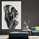 YDGG Abstract Feather Tribal Girl Art Canvas Painting Poster Print Wall Picture Home Living Room Decor-50x70cmx1 pcs no frame