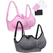Aibrou Damen 2er Pack Still-BH Schwangerschaft Still BHs ohne Bügel nahtlose Umstandsmode
