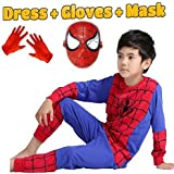 Fancy Steps Complete Spiderman Costume With Plastic Mask And Gloves Superhero Costume Fancy Dress Costume Costume Cosplay Carnival Costumes For Children Fancy Dress Competition B'day Party Birthday Gift B'day Gift Baby Show Halloween Costume Kindergarden