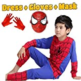 #5: Fancy Steps Complete Spiderman Costume with Plastic Mask and Gloves Superhero Costume fancy dress costume costume Cosplay Carnival costumes for children Fancy Dress Competition B'day Party Birthday Gift B'day gift baby show halloween costume kindergarden fancy dress shop baby show event (6 years)