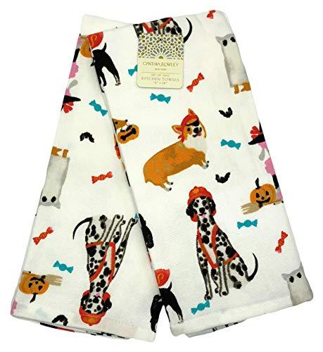 ween Hunde in Kostüm Fun Fall Küche Handtuch Set ()