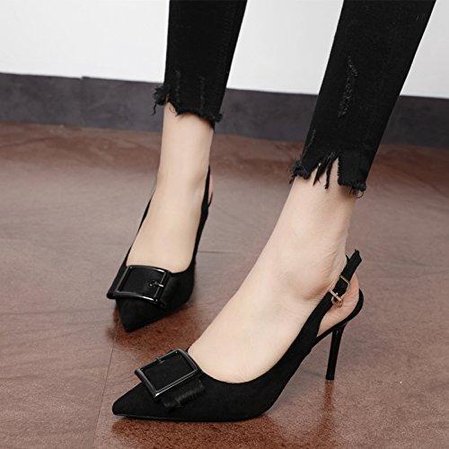 Xue Qiqi Punta roja vino solo zapatos de raso, vacía, mujeres salvajes zapatos con tacones altos,36, buen vino rojo