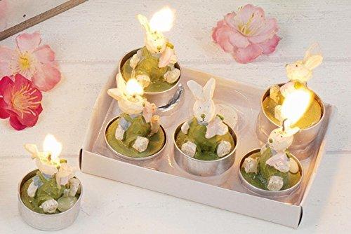 Hoff-Interieur 6er Set Teelichter 'Bunnies' Hasen Kerze Ostern Osterhase Tisch Tischdeko