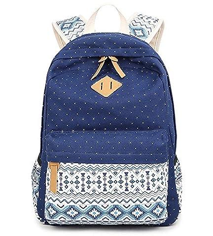 Schulrucksack Mädchen Aokey Casual Canvas Rucksack Polka Dots backpack Freizeitrucksack