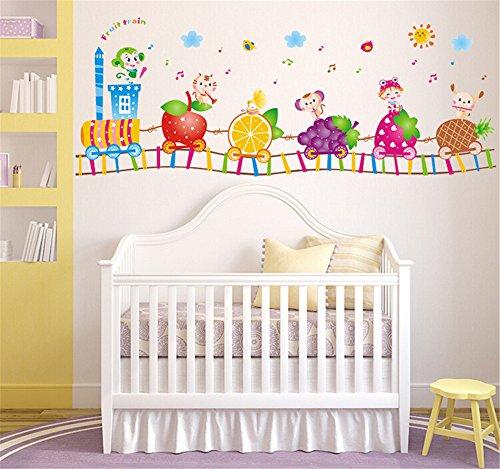 ufengke Cartoon Animali Trenino Frutta Nota Musicale Adesivi Murali, Camera dei Bambini Vivai Adesivi da Parete Removibili/Stickers Murali/Decorazione Murale