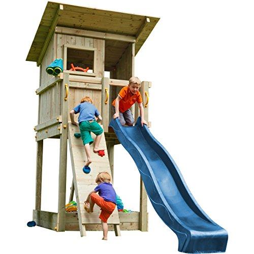Blue Rabbit 2.0 Spielturm BEACH HUT mit Rutsche + Kletterwand Fernrohr Lenkrad Kletterturm Holzturm aus Kiefer MASSIVHOLZ imprägniert (Blau)