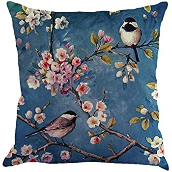 Cute Bird Pattern Throw Pillow Case Office Sofa Square