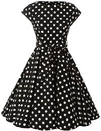 b6924a640 Vestido Años 50 Años con Lunares De Rockabilly Cóctel Vestido Ropa Festiva  para Mujer Audrey Hepburn