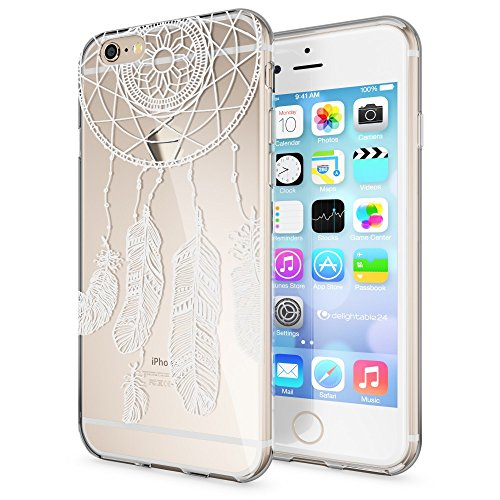 iPhone 6 6S Hülle Handyhülle von NICA, Slim Silikon Motiv Case Crystal Schutzhülle Dünn Durchsichtig, Etui Handy-Tasche Back-Cover Transparent Bumper für Apple iPhone 6S 6 - Transparent Feathers