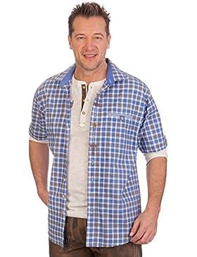 H1623 - Trachten Herren Hemd mit 1/2 Arm - blau