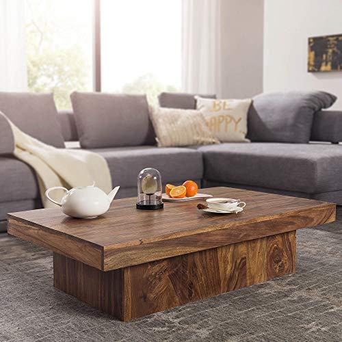 FineBuy Design Couchtisch KOTA Sheesham Holz 120 x 70 x 30 cm flach | Moderner Wohnzimmertisch Massivholz Braun Landhaus | Wohnzimmer Lounge Tisch Massiv