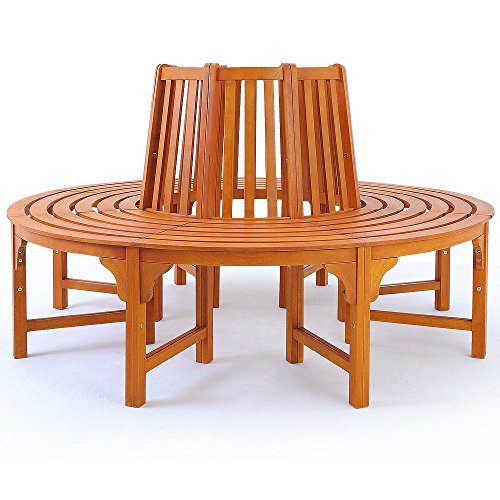Baumbank | FSC®-zertifiziertes Eukalyptusholz | Vorgeölt | Ø 160cm | Rundbank Holzbank Gartenbank